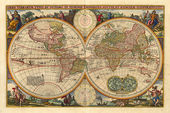 Antique world map — Stock Photo