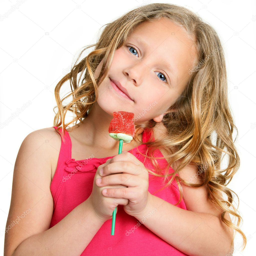 Cute Girl With Rose Cute Little Girl Holding