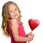 Sweet girl holding red heart. — Stock Photo #11302046