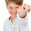 Portrait of handsome boy pointing at you. — Stock Photo
