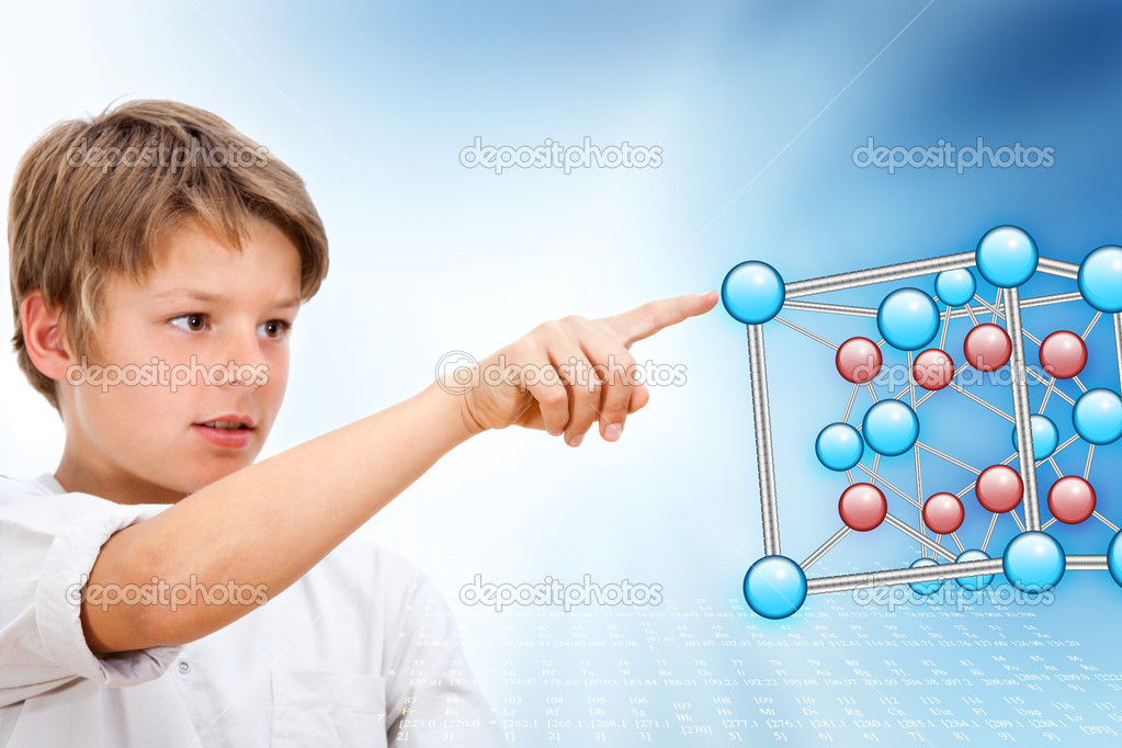 Young boy pointing at 3D molecules in futuristic interface. — Stock Photo #11302148