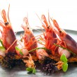 Stock Photo: King prawns with crisp seafood rice.