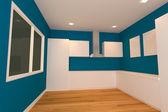 Blue kitchen room — Stock Photo