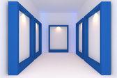 Blauw frame in de galerij — Stockfoto