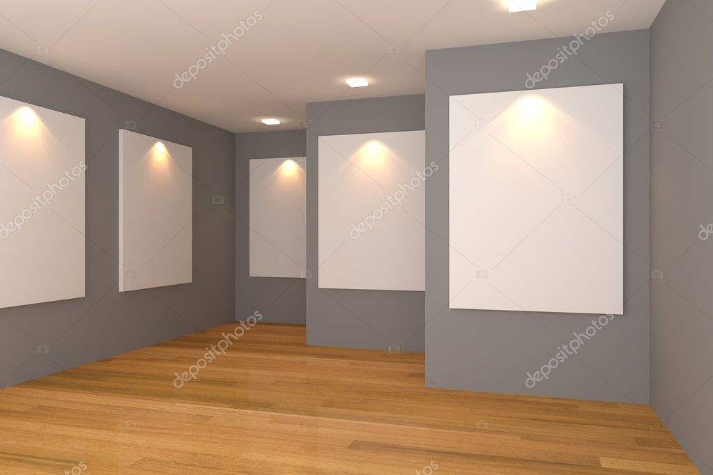 Empty room interior with white canvas on a gray wall in the gallery.  Stock Photo #11408705