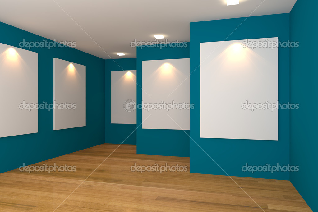 Empty room interior with white canvas on a blue wall in the gallery.  Stock Photo #11408707
