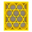 Empty yellow shelves rounded — Stock Photo