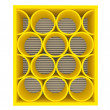 Royalty-Free Stock Photo: Empty yellow shelves rounded
