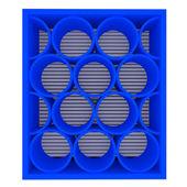 Estantes vacíos azules redondeadas — Foto de Stock