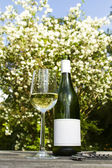 White wine bottle on the table outdoors — Stock Photo