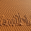 Namibia written in the sand — Photo