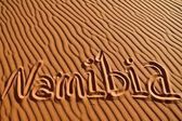 Namibia written in the sand — Stock Photo