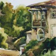 Old house in Yalta watercolor — Stock Photo