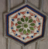 Muslim ceiling wood decoration in old chirch in Chufut Kale, Cri — Stock Photo