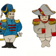 Watercolor characters dragoon and french general — Stock Photo