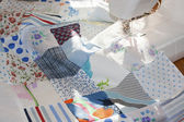Process of quilying onpatchwork blanket — Stock Photo