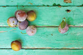Plums on old turquose color surface — Stock Photo