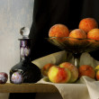 Still life with glass, apples, peaches amd plums in holland clas — Stock Photo