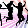 Silhouette of jumping girls with gradient background - Stock fotografie