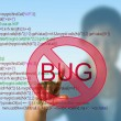 Business woman pointing programming script with bug fixed concept - Stock Photo