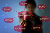 Business woman pointing investment concept — Stock Photo