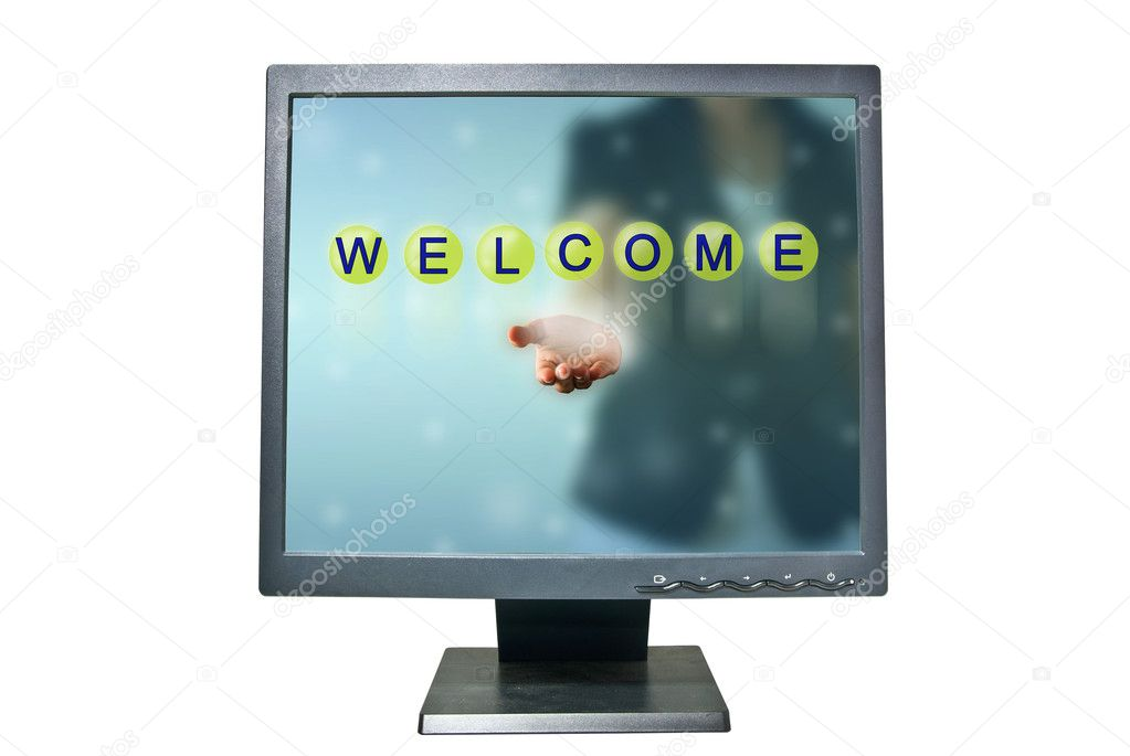 Business woman in monitor and WELCOME words show in green crystal ball — Stock Photo #11013372