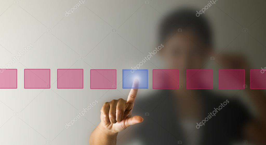 Business woman hand press the button, selection concept. — Stock Photo #11013473