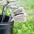 Close up of golf clubs in golfbag — Foto Stock