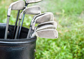 Close up of golf clubs in golfbag — Stock Photo