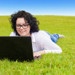 Business Woman on Grass — Stock Photo