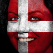 Woman with flag painted on her face to show Austria support — Stock Photo