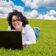 Woman working outdoors — Stock Photo