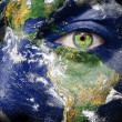 Earth painted on face to create awareness for climate — Stock Photo