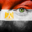 Flag painted on face with green eye to show Egypt support — Stock Photo