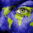 World map painted on face — Stock Photo