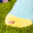 One foot with hole in sock — Stock Photo