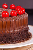 Chocolate Fudge Cake with Cherries — Stock Photo