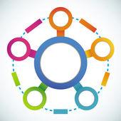 Empty color circle marketing flowchart — Stock Vector