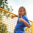 Confident preteen female in park — Stock Photo