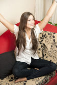 Cheerful girl at home — Stock Photo