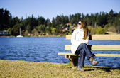 Sunbath at the lake — Stock Photo