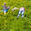 Stock Photo: Happy family lying on the grass
