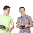 Two guys are playing computer games — Stock Photo
