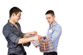 Advises the buyer to the seller clothing — Stock Photo