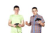 Boys play computer games — Stock Photo