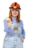 Builder girl waving a fist — Stock Photo