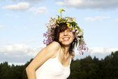 Girl with a wreath on his head — Stock Photo