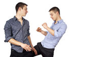 Two guys advertise clothes isolated — Stock Photo
