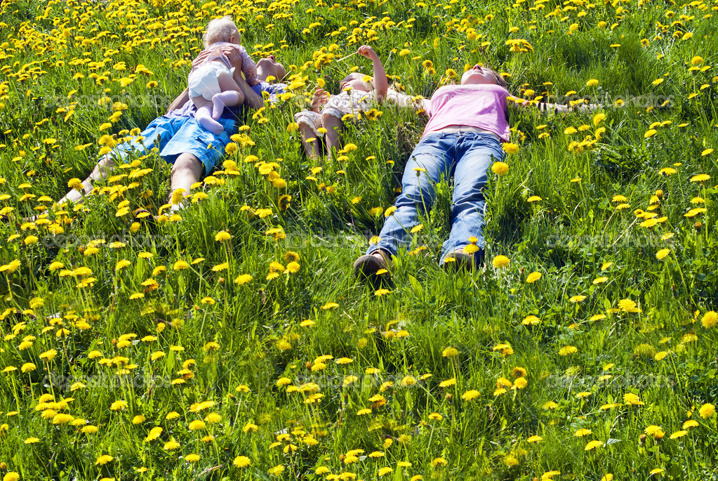 Happy family lying on the grass — Stock Photo #11996522