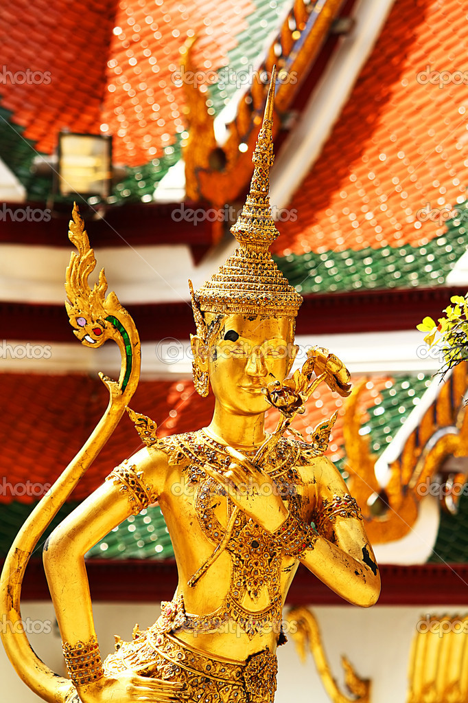 Thai sculpture art. It looks beautiful and delicate, often seen in the temple.  Stock Photo #11241782